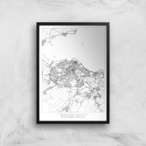 City Art Black and White Outlined Edinburgh Map Art Print
