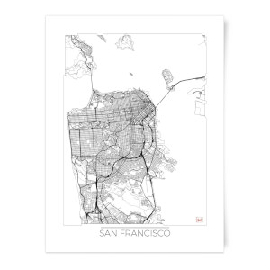 Black and White Outlined San Francisco Map Art Print