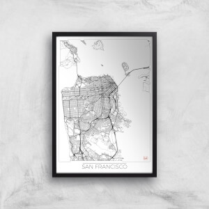 City Art Black and White Outlined San Francisco Map Art Print
