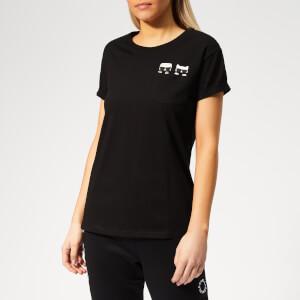 Karl Lagerfeld Women's Ikonik Karl & Choupette Pocket T-Shirt - Black