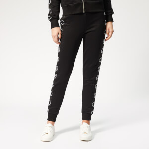 Karl Lagerfeld Women's Sweatpants with Circle Logo Tape - Black