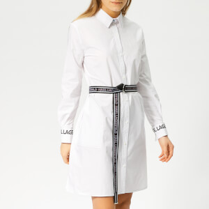 Karl Lagerfeld Women's Shirt Dress with Logo Belt - White