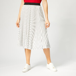 Karl Lagerfeld Women's Pleated Logo Midi Skirt - Karl Stripe BW Print