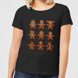 Star Wars Gingerbread Characters Women's Christmas T-Shirt - Black