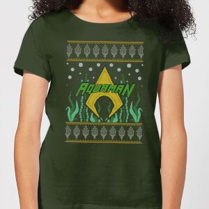 DC Aquaman Knit Women's Christmas T-Shirt - Forest Green