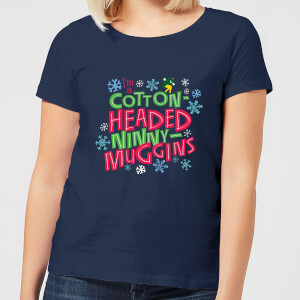 T-Shirt Elf Cotton-Headed Ninny-Muggins Christmas - Navy - Donna