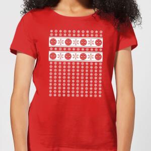 Marvel Deadpool Snowflakes Women's Christmas T-Shirt - Red