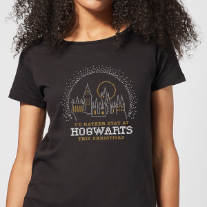 Harry Potter I'd Rather Stay At Hogwarts Damen Christmas T-Shirt - Schwarz