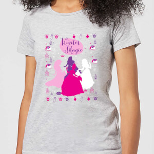 Disney Princess Silhouettes Women's Christmas T-Shirt - Grey