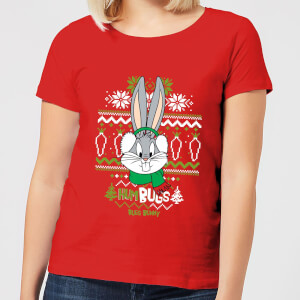 Looney Tunes Bugs Bunny Knit Women's Christmas T-Shirt - Red