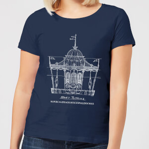 Mary Poppins Carousel Sketch Damen Christmas T-Shirt - Navy Blau