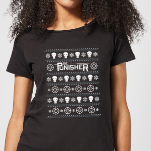 Marvel Punisher dames Christmas t-shirt - Zwart