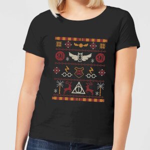 Harry Potter Knit Women's Christmas T-Shirt - Black