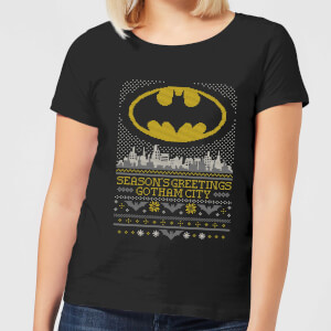 DC Seasons Greetings From Gotham Women's Christmas T-Shirt - Black