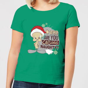 Looney Tunes Who Are You Calling Naughty Damen Christmas T-Shirt - Grün