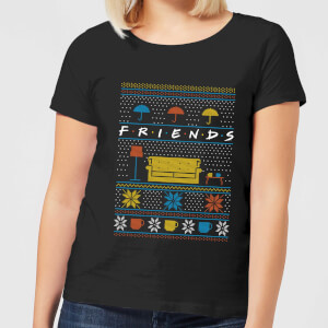 Friends Sofa Knit Damen Christmas T-Shirt - Schwarz