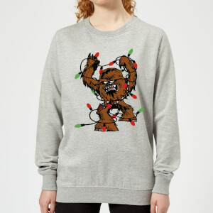 Star Wars Tangled Fairy Lights Chewbacca Women's Christmas Sweatshirt - Grey