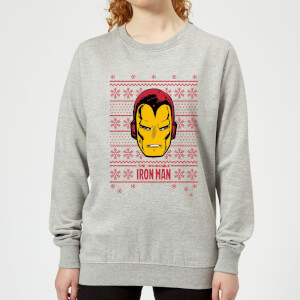 Marvel Iron Man Face Women's Christmas Sweatshirt - Grey