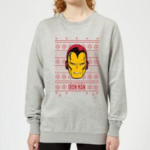 Marvel Iron Man Face Women's Christmas Sweater - Grey