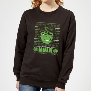 Marvel Hulk Face Women's Christmas Sweater - Black