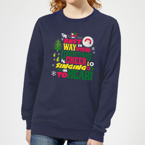Elf Christmas Cheer Women's Christmas Sweater - Navy