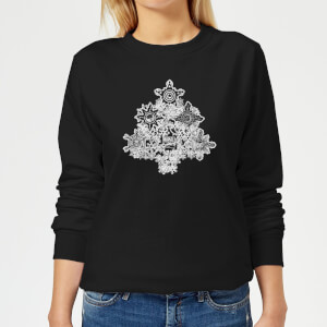 Marvel Shields Snowflakes Women's Christmas Sweatshirt - Black