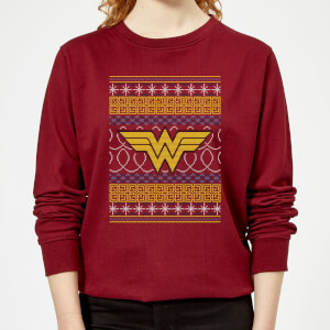 DC Wonder Woman Knit Women's Christmas Sweater - Burgundy