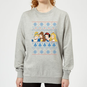 Disney Princess Faces Women's Christmas Sweatshirt - Grey