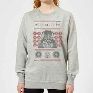 Star Wars Darth Vader Face Knit Women's Christmas Sweatshirt - Grey