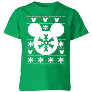Disney Snowflake Silhouette Kids' Christmas T-Shirt - Kelly Green
