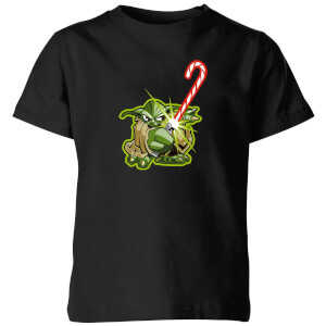 Star Wars Candy Cane Yoda Kids' Christmas T-Shirt - Black