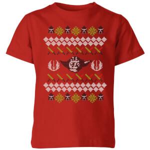 Star Wars Yoda Knit Kids' Christmas T-Shirt - Red