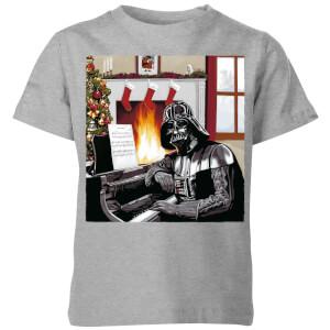 Star Wars Darth Vader Piano Player Kids' Christmas T-Shirt - Grey