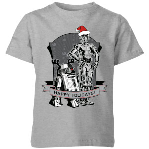 Star Wars Happy Holidays Droids Kids' Christmas T-Shirt - Grey