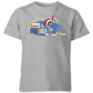 Looney Tunes Peace Among Earthlings Kids' Christmas T-Shirt - Grey