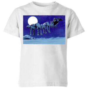 Star Wars AT-AT Darth Vader Sleigh Kids' Christmas T-Shirt - White