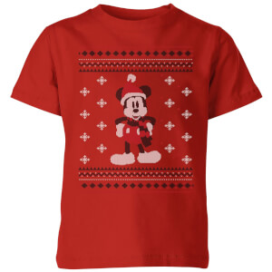 Disney Mickey Scarf Kids' Christmas T-Shirt - Red