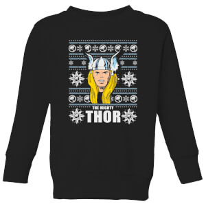 Marvel Thor Face Kids' Christmas Sweatshirt - Black
