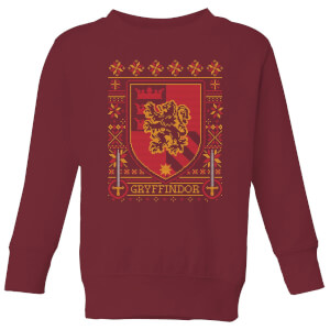 Harry Potter Gryffindor Crest Kids' Christmas Sweatshirt - Burgundy