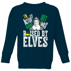 Elf Raised By Elves Kids' Christmas Sweatshirt - Navy