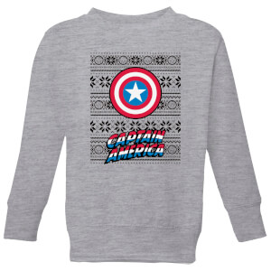 Marvel Captain America Kids' Christmas Sweatshirt - Grey