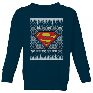 DC Superman Knit Kids' Christmas Sweatshirt - Navy