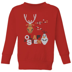Frozen Olaf and Sven Kids' Christmas Sweatshirt - Red