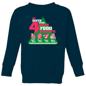 Elf Food Groups Kids' Christmas Sweatshirt - Navy