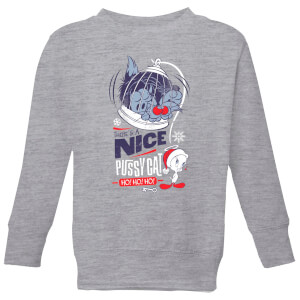 Looney Tunes Tweety Pie Pussy Cat Kids' Christmas Sweatshirt - Grey