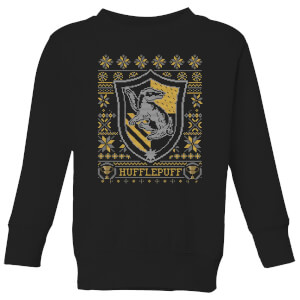 Harry Potter Hufflepuff Crest Kids' Christmas Sweatshirt - Black