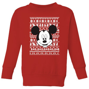 Disney Mickey Face Kids' Christmas Sweatshirt - Red