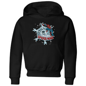 Marvel The Amazing Spiderman Snowflake Web Kids' Christmas Hoodie - Black
