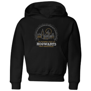 Harry Potter I'd Rather Stay At Hogwarts Kids' Christmas Hoodie - Black