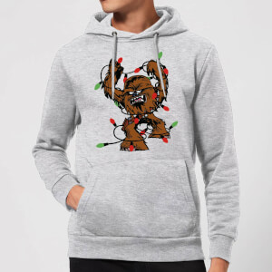 Star Wars Tangled Fairy Lights Chewbacca Christmas Hoodie - Grey